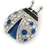 Blue/ Black Enamel Crystal Ladybug Brooch In Rhodium Plating - 35mm L