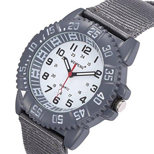 Unendlich U Fashion Grau Nylon Gurt Quarzarmbanduhr Unisex Wasserdicht Armbanduhr für Reise/Geburtstag Weihnachten Geschenk