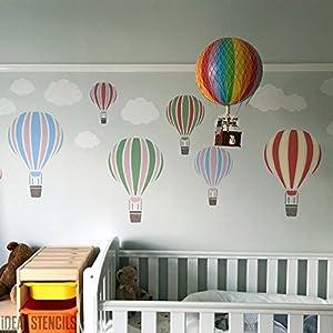 Heißluftballon Schablone Kinderzimmer U0026 Kind Friendly Home Wand Dekoration  U0026 Handwerk Schablone Wandfarbe Stoffe U0026 Möbel