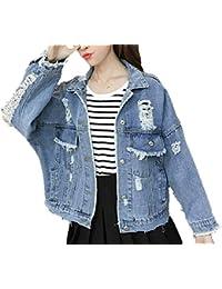 Saoye Fashion Jeansjacke Damen Frühling Herbst Große Größen Jacket Loose  Lässig Trendigen Kleidung Outerwear Mäntel Normallacks Langarm… 9d60cd91fb