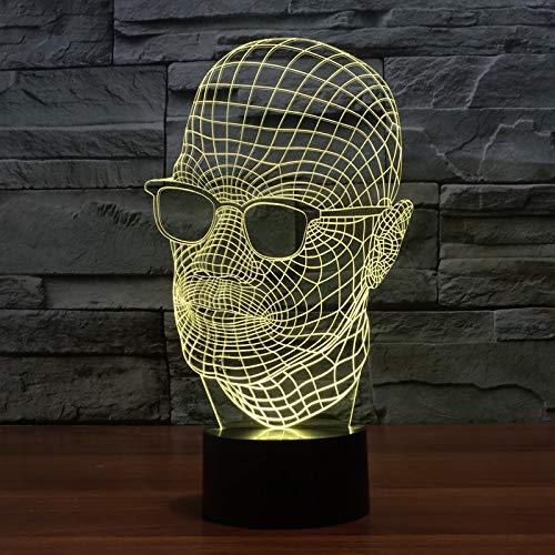 LNLZ Männer mit Brille 3D beleuchtet Bunte visuelle Lichter der Geschenk-Atmosphäre, Tischlampe, USB, Fernbedienung