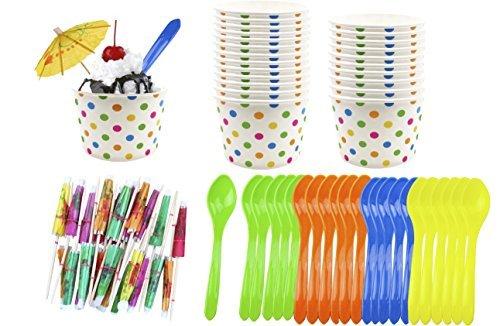 (Außerhalb der Box Papier Ice Cream Sundae, 8Unze Polka Dot Papier Tassen–Kunststoff Löffel–Papier Schirme–Blau Orange Gelb Grün–24je)