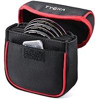 Tycka 5 Taschenbeutel Objektivtasche für bis zu 86mm Runde Filter, herausnehmbares Innenfutter und wasserbeständiges und staubdichtes Design, schwarz