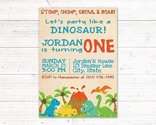 ier-Einladung zum ersten Geburtstag, Dino Geburtstag, Kleinkind Geburtstag, Dinosaurier Einladung, Dekoratives Schild aus Holz ()
