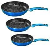 3 tlg. Pfannenset Blau Bratpfannen Set Grillpfanne Pfanne Marmor Keramik Beschichtung