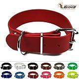 LENNIE Halsband mit Rollschnalle, 38 mm breite BioThane, Größe 45-55 cm, Rot, Aufdruck möglich, 13 Farben, 4 Größen