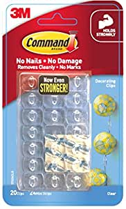 Command Decorating & Organizing Clips (Clear,20 Clips and 24 Mini Strips)