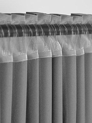 2er Set einfarbige Verdunkelungsvorhänge Blickdicht Gardinen (RENO Grau 51, 140×150 cm – BxH) verdunkelung Vorhang Gardine mit Tunnelband, 2 Stück lichtundurchlässig Vorhänge für Wohnzimmer Schlafzimmer Kinderzimmer - 5