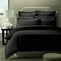 """Trance Home Linen 210 TC Cotton Duvet Cover with 2 Pillow Covers - King Size (Black) - 102"""" X 110"""""""