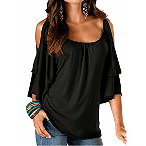 b06aa48afedb33 FIYOTE Womens Summer Cold Shoulder Ruffle 3 4 Sleeve Loose Tops Tunic Blouse  Shirt