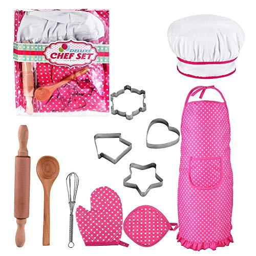Macrourt 11PCS Kochschürze Set für Kinder, Chef Set, Kinderkochset Kinder Kochen Spiel Küche Wasserdicht Backen Schürzen, Ofenhandschuh, Ausstechformen Kostüm Play Set für Mädchen (Spielen Küche-sets)