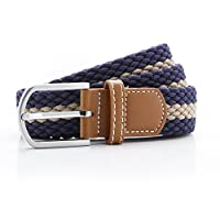 Asquith & Fox Asquith and Fox Stripe Braid Stretch Belt Multicolour (Navy/Khaki 000), 38 (Size:One Size)
