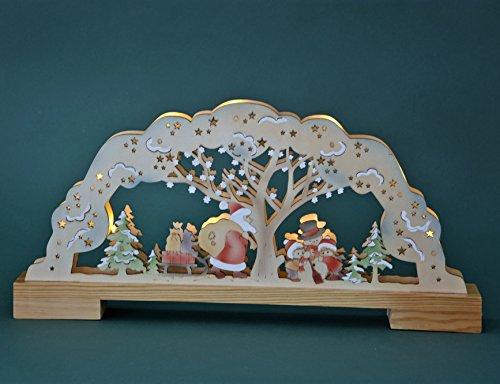 Weihnachtsbeleuchtung Lichterbogen.Led Schwibbogen Lichterbogen Leuchter Weihnachtsmann Natur Farbig Innenbeleuchtet Aus Holz Ca 45 Cm Breit Weihnachten Advent Geschenk