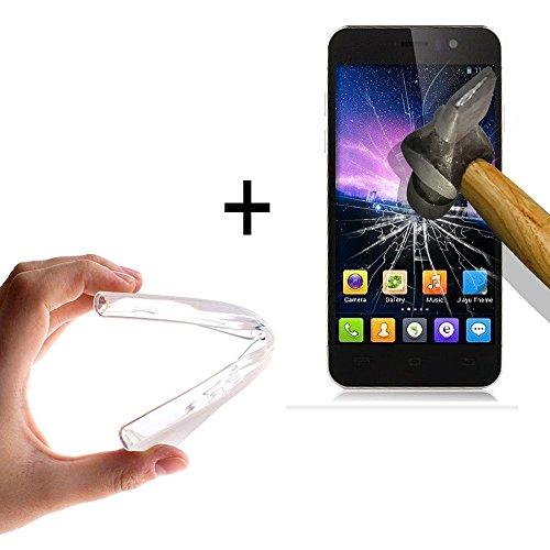 WoowCase - [ Jiayu G5 - G5S Schutzhülle Silikon Transparent [ +1 Schutzglas ] 9H Panzerglas Bildschirm Schutzfolie, Hülle Case TPU