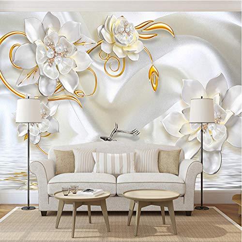 Benutzerdefinierte 3D Wandbilder Tapete Luxus 3D Relief Deer Weißer Seide Perle Schmuck Blume Große Wandmalerei Wohnzimmer Schlafzimmer