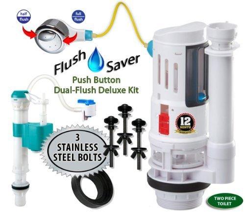 flushsaver Push Button euro-style 2Deluxe DIY Conversion Kit-passend für Standard 5,1cm Ablauf Zwei Stück WC. Standard Toiletten in effizienter 2Systeme. Edelstahl 3Schrauben -