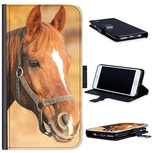 Hairyworm - Braunes Pferd mit weißem Blitz LG K10 (2017) Leder Klapphülle Etui Handy Tasche, Deckel mit Kartenfächern, Geldscheinfach und Magnetverschluss. LGK10 (17) Fall