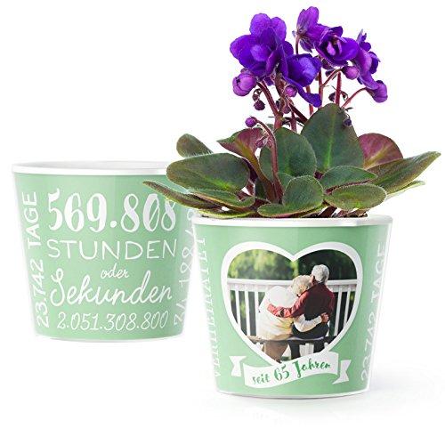 Eiserne Hochzeit Geschenk – Blumentopf (ø16cm) | Deko Geschenke Zum 65. Hochzeitstag für Mann oder Frau mit Herz Bilderrahmen für 1 Foto (10x15cm) | Glücklich Verheiratet - 65 Jahre