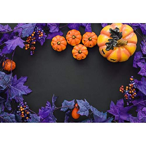 OERJU 1,5x1m Halloween Hintergrund Kürbis Lila Traube Kante Hintergrund Halloween Nacht Party Fotografie Süßes und Saures Banner Dekoration Porträt Foto