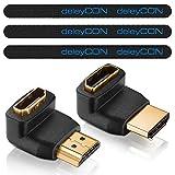 deleyCON HDMI Set - 2x HDMI Winkel Adapter (90° + 270° Grad) + 3x Klett-Kabelbinder + Mikrofaser Reinigungstuch