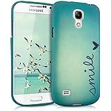 kwmobile Hülle TPU Silikon Case für Samsung Galaxy S4 Mini mit Smile Design - Handy Cover Schutzhülle in Blau Türkis