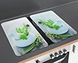 "Wenko 2552420500 30 x 1.8 - 4.5 x 52 cm ""Herb Garden"" Universal Cover Plates for All Types of Cookers/Tempered Glass, Set of 2, Multi-Colour"