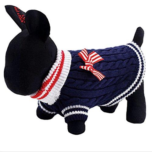 AiSi Hund Pullover Hündchen Strickjacke Jacke Hunde-T-Shirt, Haustier Kleidung für Kleine Hunde mit Schleife Blau S