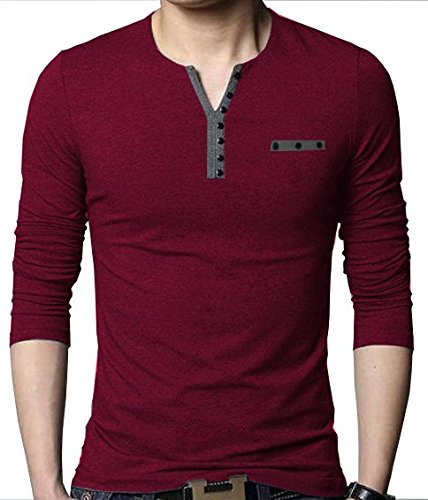 EYEBOGLER Men's Buttoned Cotton Tshirt (Wine and Melange, Medium)