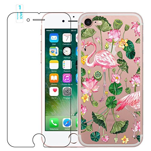 iPhone 6/6s Flamant rose Coque en silicone avec protection d'écran en verre trempé, Blossom01Ultra mince souple en gel TPU Coque de protection en silicone avec motif de dessin animé pour iPhone 6/6s  #11