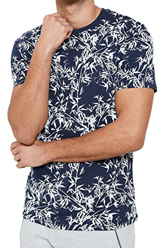 Threadbare Herren Blusen T-Shirt Gr. X-Large, Feather Falls - Navy Blue (Hawaiian Herren Baumwolle Shirt New)