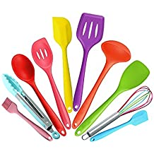Bessmate 10 Piece Silicone Kitchen Utensils Set, Heat Resistant Multicolor Kitchen Cooking Set Including Brush, Tongs, Spoon, Slotted Spoon, large Spatula, Slotted turner, ladle, Baking Spoonula, Whisk , Small Spatula