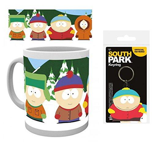 Set: South Park, Boys Tazza Da Caffè Mug (9x8 cm) E 1 South Park, Portachiave (6x4 cm)