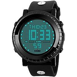 BesWLZ Men's Digital Waterproof LED Sport Big Face Watch Casual Military Back Light Business Watches for Men Simple Design 50M Waterproof Watch Black