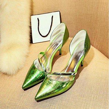 Moda Donna Sandali Sexy donna tacchi Primavera / Estate tacchi esterno in pelle Stiletto Heel altri verde / bianco / Argento Altri Silver
