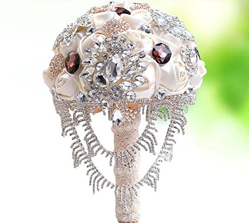 Handgemachte Luxus Strass Perlen Satin Simulation Rosen Bridal Holding Blumen Hochzeit Bouquet Braut Bouquet Hochzeit Supplies Large ( Color : Rot )