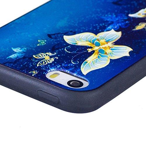 Coque iPhone SE 5S / 5 , IJIA Ultra-mince Beau Papillon TPU Noir Doux Silicone Bumper Case Cover Coque Housse Etui pour Apple iPhone SE 5S / 5 (BF43? BF43