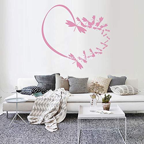 Romantische Schmetterling Herz Vinyl Wand Applique schöne Natur Aufkleber Innen Kunst Wandbild Kinderzimmer Dekoration 59cm x 56cm