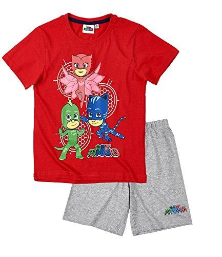 PJ Masks ? Pyjamahelden Jungen Shorty-Pyjama - rot - 104 (Shorts Baumwolle Pj)
