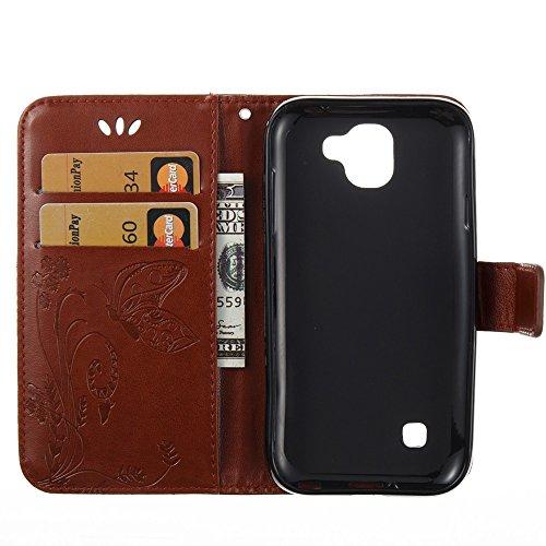 EKINHUI Case Cover Horizontale Folio Flip Stand Muster PU Leder Geldbörse Tasche Tasche mit geprägten Blumen & Lanyard & Card Slots für LG K3 2017 ( Color : Purple ) Brown