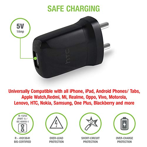 HTC E250 USB Wall Charger for iPhone and Android Devices (Black)