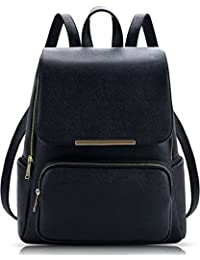 Wild Buddy Black Leather Backpack for Girls Schoolbag Casual Daypack