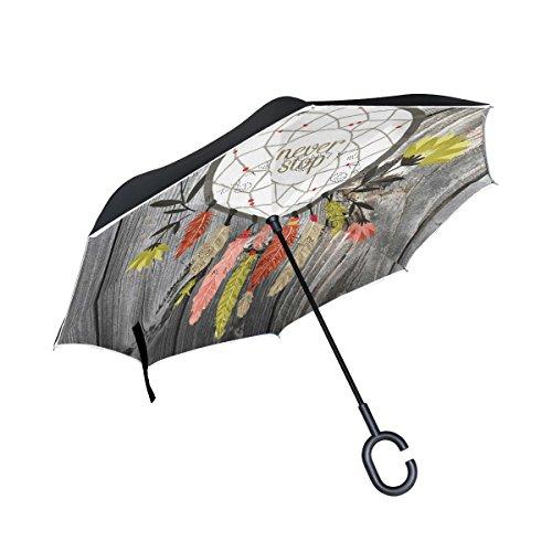 jstel doble capa auxiliar vintage Atrapasueños Junta paraguas coches Reverse resistente al viento lluvia paraguas para coche al aire libre con asa en forma de C