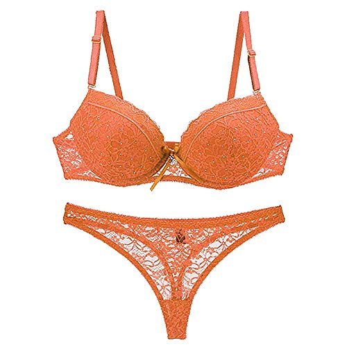 F.Lashes Damen Unterwäsche Dessous Set BH Slip Reizwäsche Push Up Bustier Transparente Spitze String Tanga mit Strass (Orange, 75C) - Dessous Sexy Strass