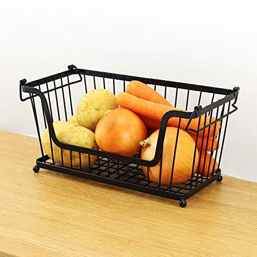 Taylor & Brown® Stapelbarer Draht-Korb, stapelbare Regale, Gemüse, Lebensmittel, Küche, Aufbewahrungsregal, Bad, Mehrzweck-Organizer mit verstellbaren Griffen Schwarz -