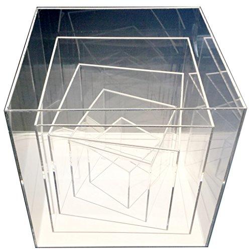 Acrylwürfel Acryl Tisch-Vitrine Glas Schaukasten Spuck Staub Schutz Ausstellung Gross (Transparent-30x30x30 cm)