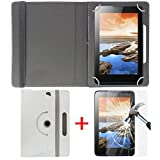 "Hello Zone Exclusive 360° Rotating 8"" Inch Flip Case Cover + Free Tempered Glass for Swipe Slate 8 -White"