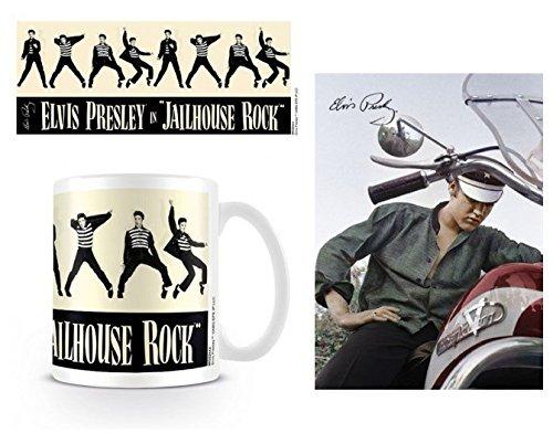 Set: Elvis Presley, Jailhouse Rock Foto-Tasse Kaffeetasse (9x8 cm) Inklusive 1 Elvis Presley Postkarte (15x10 cm) -