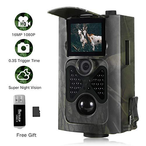 "Wildkamera Bewegungsmelder 16MP 1080P Full HD Jagdkamera Low Glow Infrarot 20m Nachtsicht Überwachungskamera IP65 Wasserdichte Nachtsichtkamera Wildkamera Fotofalle mit 2.0\"" LCD Display 16GB Karte"
