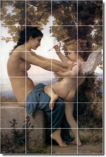 WILLIAM BOUGUEREAU ANGELES BALDOSA CERAMICA MURAL 4  32 X 48 CM CON (24) 8 X 8 AZULEJOS DE CERAMICA