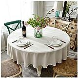 Tischdecke Schlicht Beige Rund Hotel Couchtisch Stoff Baumwolle Leinen TV Schrank Tuch, Baumwolle und Bettzeug, 200 cm